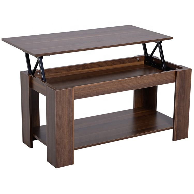 Modern Hidden Compartment And Storage Shelves Pop-Up Storage Lift Top Coffee Table