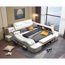 Multi-functional tatami storage leather bed