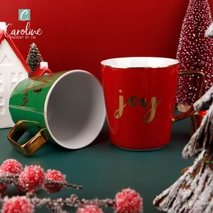Merry Christmas Ceramic Modern Joy Porcelain Cups with Print Decal Gold Coffee Mugs