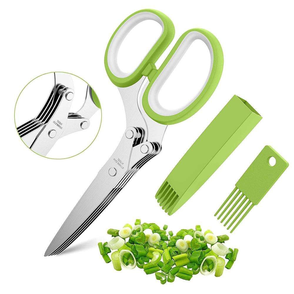 "7.5""Multipurpose Kitchen Chopping Shear Professional Stainless Steel 5 Blade Kitchen Vegetable Scissors Herb Scissors With Comb"