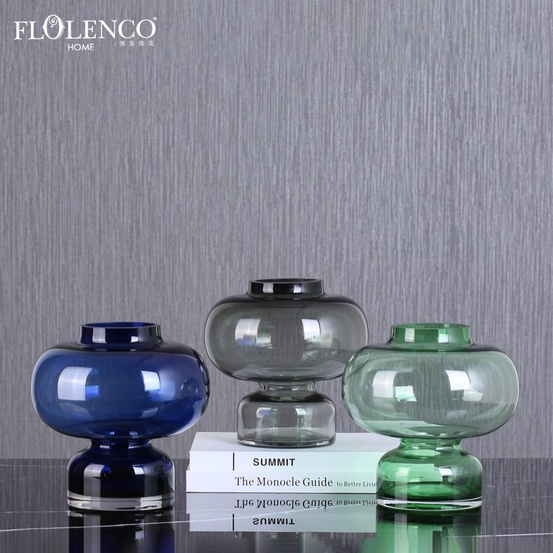 Mayorista nórdica decoración hogar claro globo de vidrio forma de jarrón para flores de seda