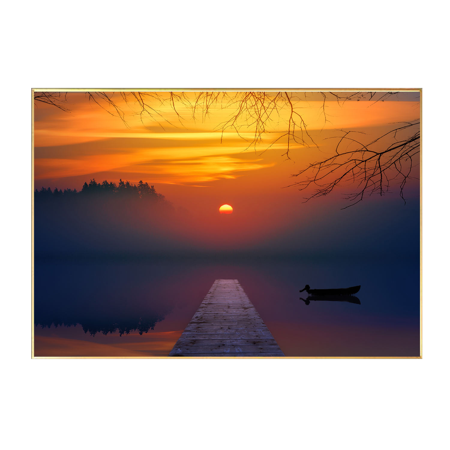 Wall Decor Painting Art Colorful Sunset Over Ocean Seascape Artwork Canvas Picture Prints