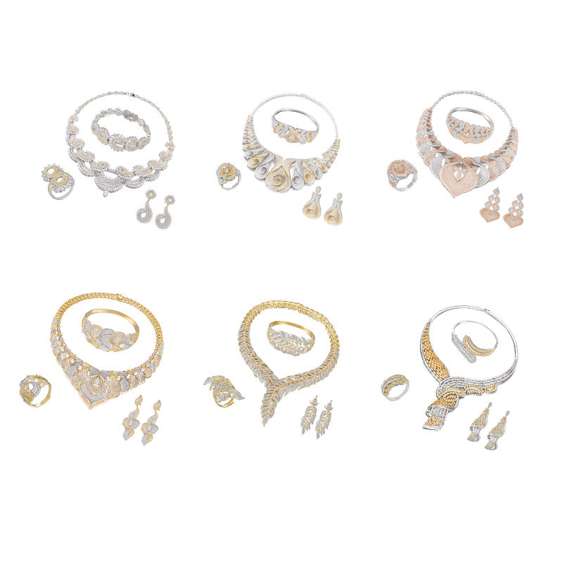 SET-1 XUPING 4 piece customize big cz stone jewelry set, wholesale gold plated jewellery, women fashion jewelry