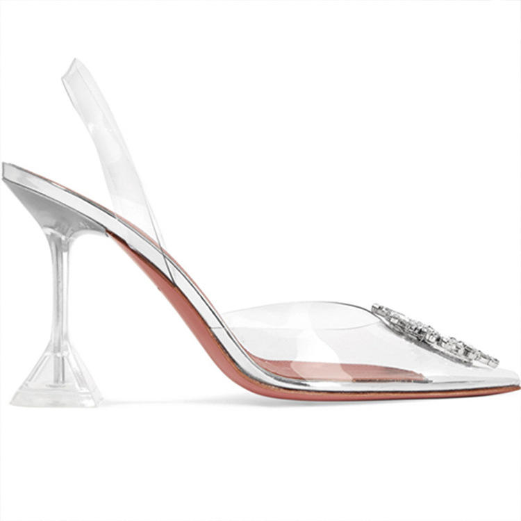 Pointed Toe Transparent Sandals Women Summer Word Rhinestone Dress Party Shoes Sexy Clear High Heels Princess Shoes