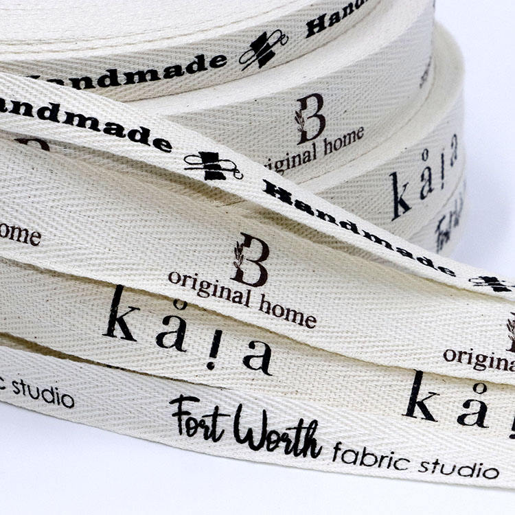 Custom logo 3/4 inch 2 cm natural printed herringbone twill 100% cotton ribbon