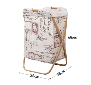 Large Bamboo Home Folding Laundry Basket Hamper Cartoon Fabric Dirty Clothes Bucket Bathroom Cloth Storage Bucket