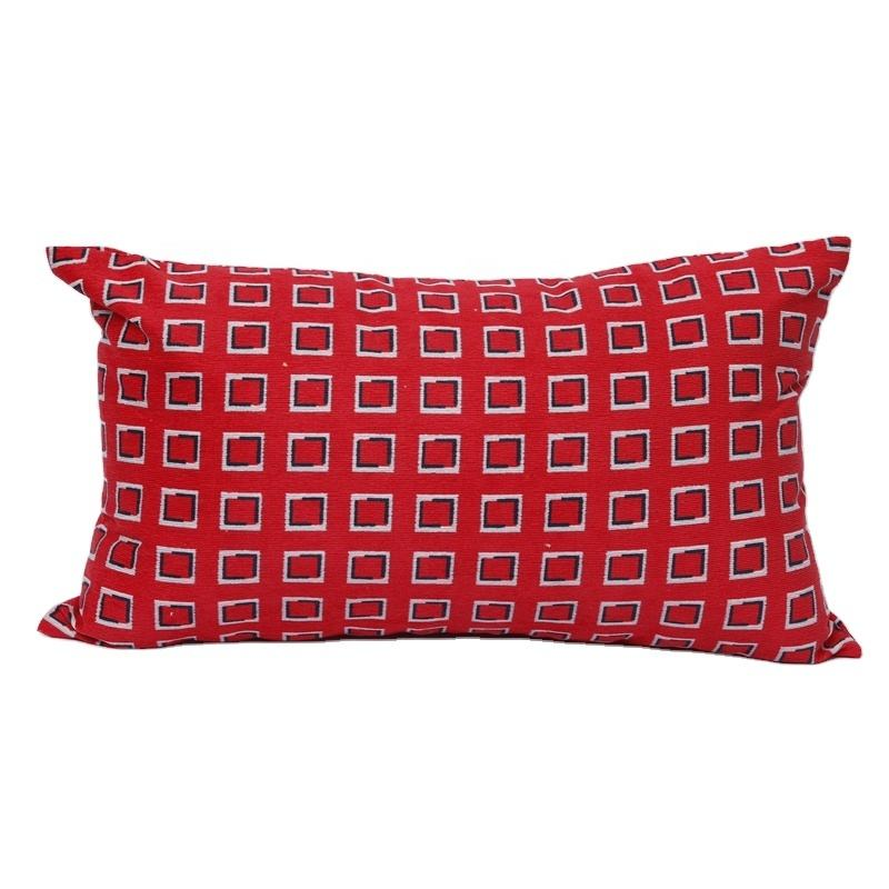 Manufacturer wholesale double sides printing velvet cushion cover throw pillow case red rectangle printed cushion cover