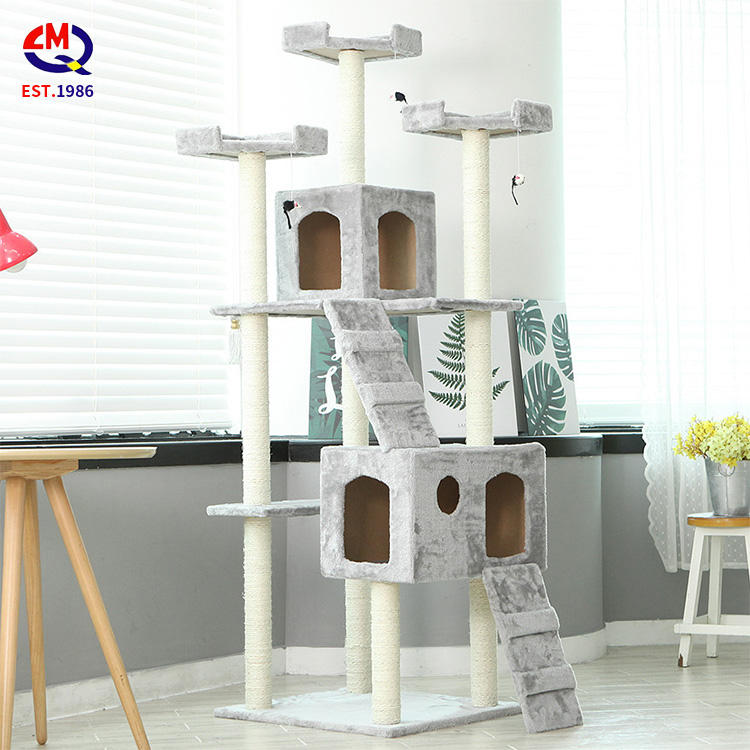 large wooden scratch climbing tower fashion diy deluxe Cat Tree Tower Condo Play House Pet Scratch Post Kitten Furniture