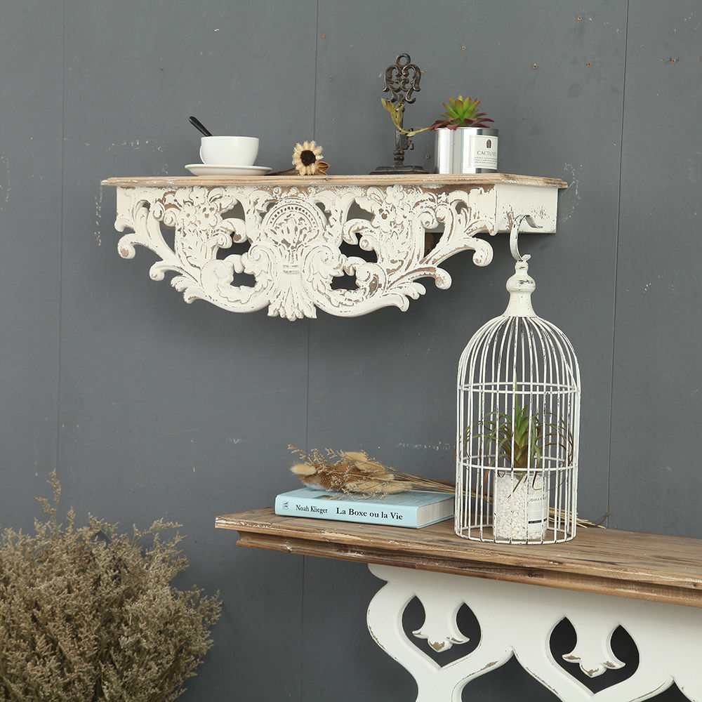YUANYU ready to ship country style ornament solid wood floating shelf, Rustic Wood Wall Shel