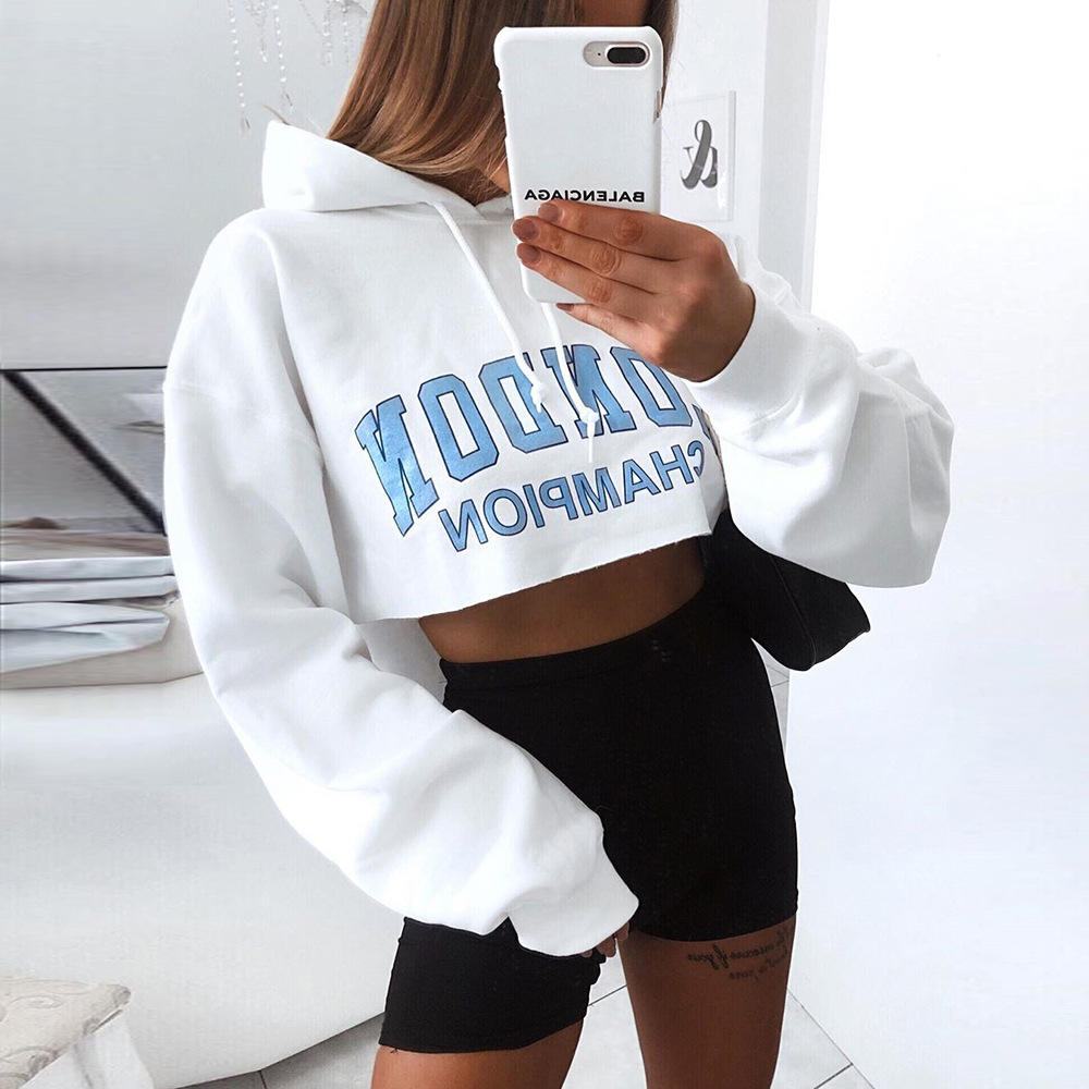 Simple Casual Letter Printed White Crop Top Hoodie Women Cotton London Cropped Sweatshirts