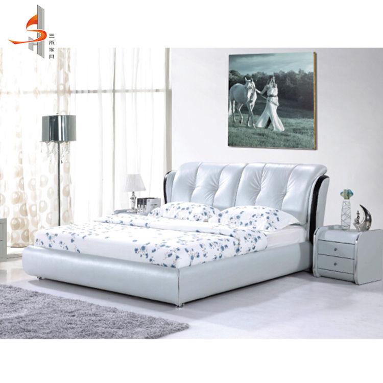 Nouvelles conceptions modernes meubles d'hôtel personnalisé roi de <span class=keywords><strong>chambre</strong></span> à coucher en cuir pour salon