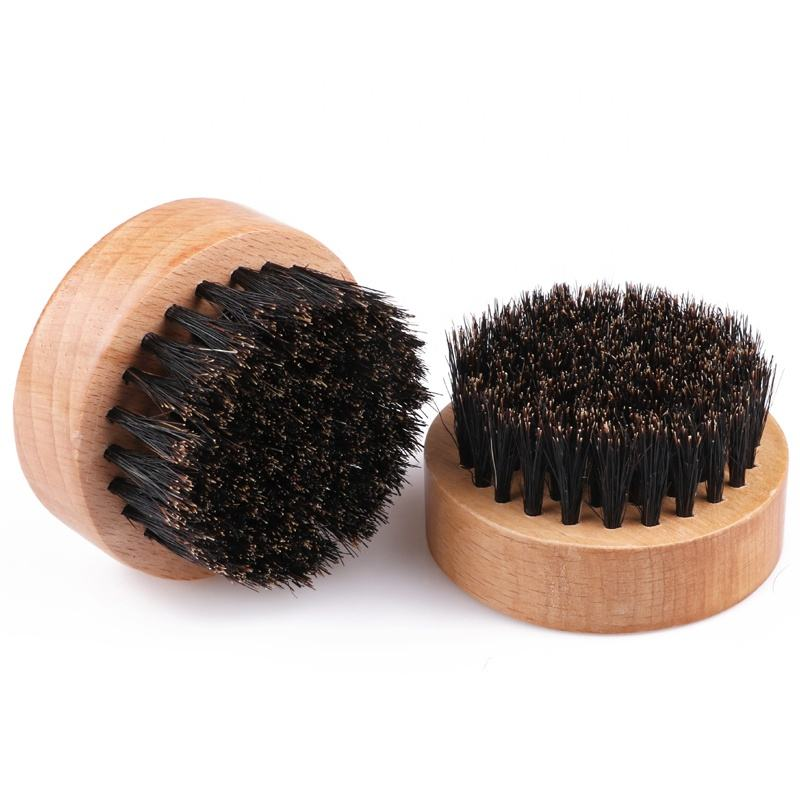 Amazon best selling wooden round beard brush with boar bristle for men
