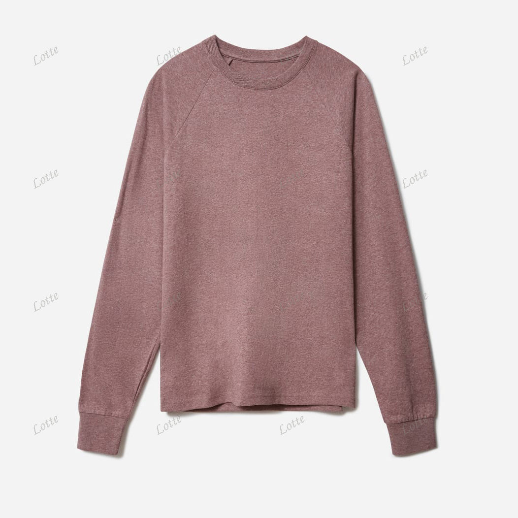 Factory Wholesale Price Cotton Raglan Long Sleeve Ribbed Cuff T shirt for Man