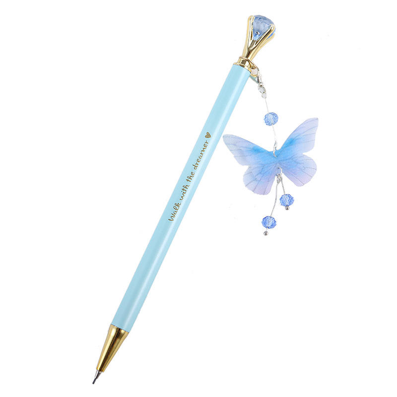 Butterfly Feather Pendant Mechanical Pencil Diamond Metal Automatic Pencil For Student