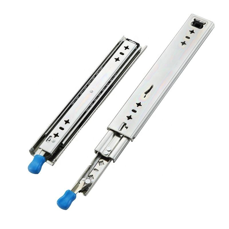 AOLISHENG Heavy-duty slide rail, 53 mm wide, three times full extension blue galvanized, with fixed side ball bearing slide rail