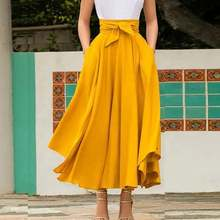 New Fashion Women Girls Europe and America Solid Color Bow Belt Big Hem Hot Sell Dress Long Skirt
