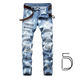 Plus size single breasted button fly zipper designer men's ripped washed jeans trousers