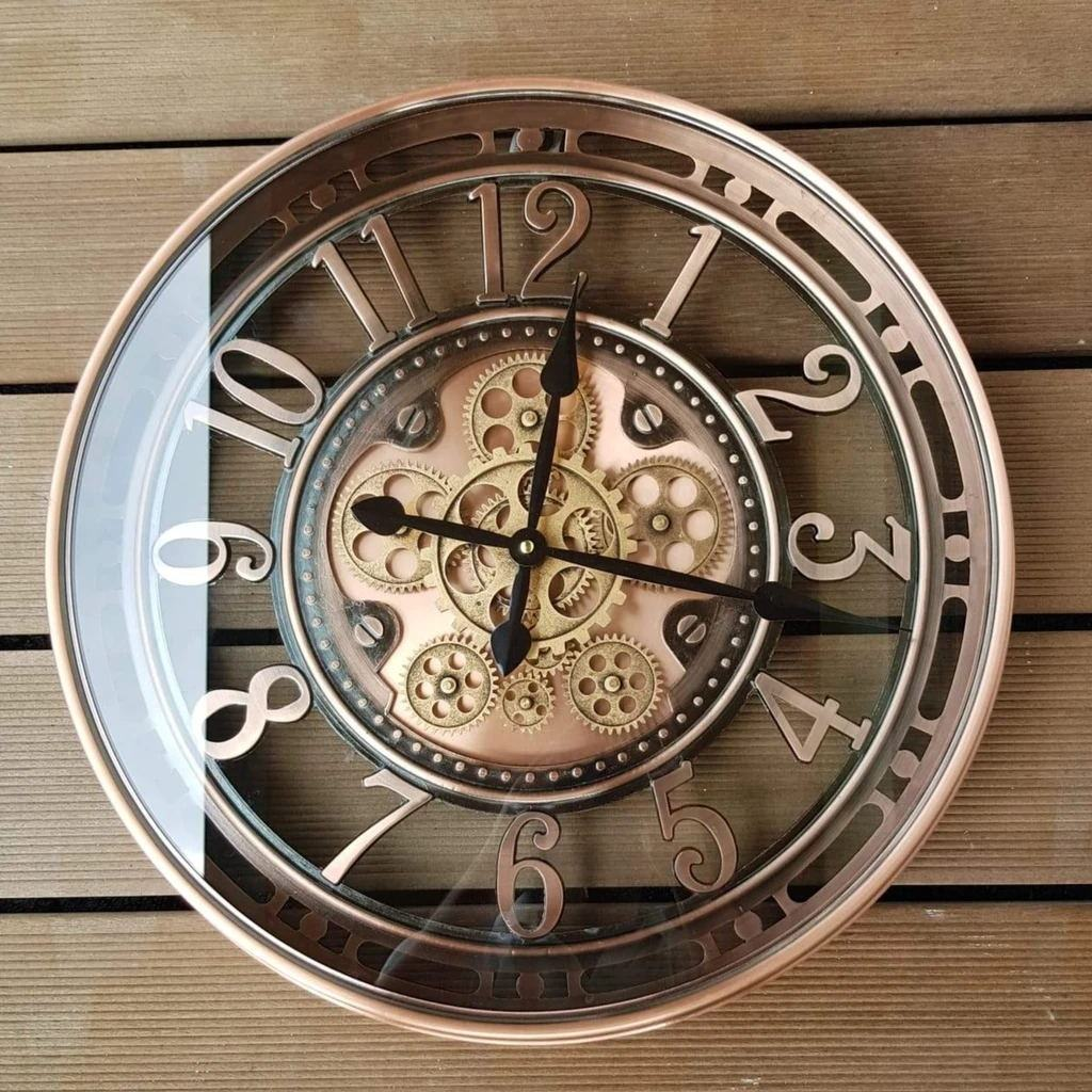 Oversized industrial metal Moving Gear Wall Clock