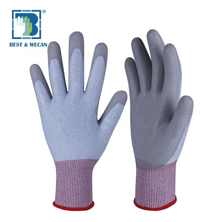 Gray PU Coated Palm 18 G Rubber Stain Resistant Non-slip Work Glove