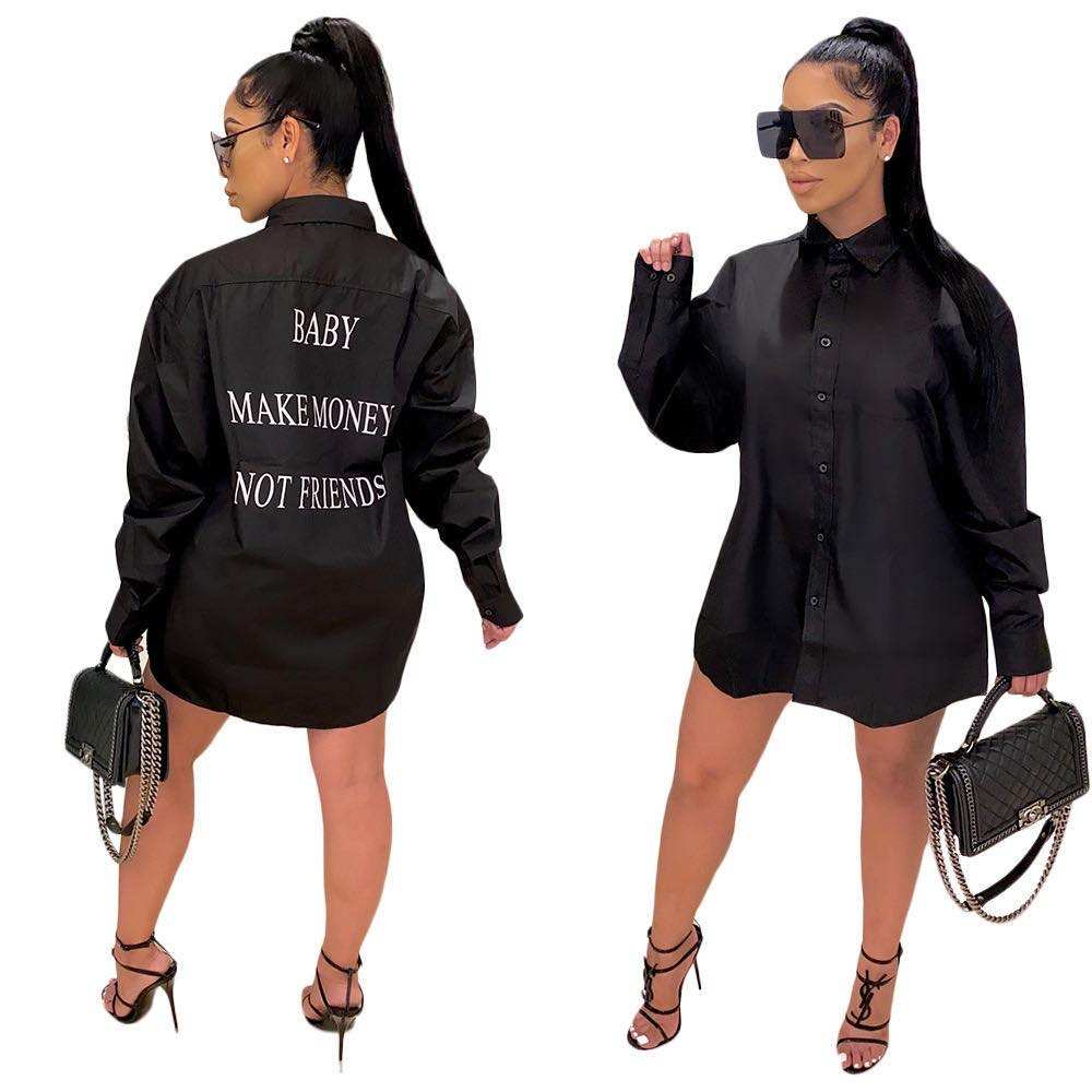 2020 fall clothing fashion long sleeve women's skirt letter printed black tshirt dress causal streetwear