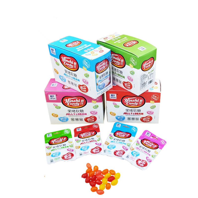 Halal Colorful Fruity Flavors Soft Jelly Bean Candy in Zipper Bag