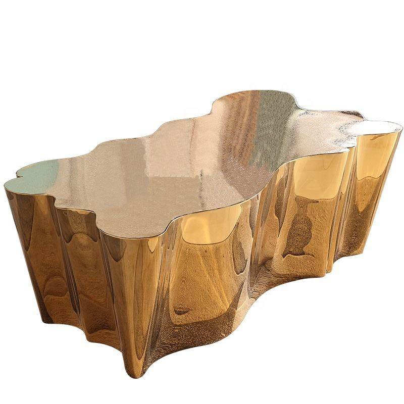 Stainless steel gold Living Room furniture modern Tree Trunk Style coffee table