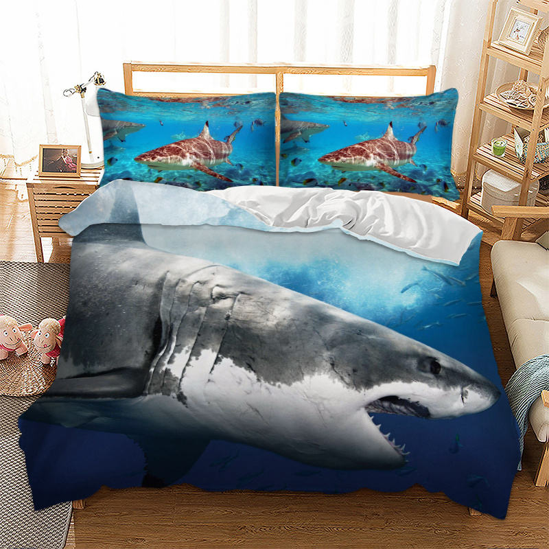 Hiu 3D Printing 3 Pcs 2 Pcs Duvet Cover Poliester 100% Blue Ocean Sea Bedding Set Bed Cover Fashion Selimut cover Set