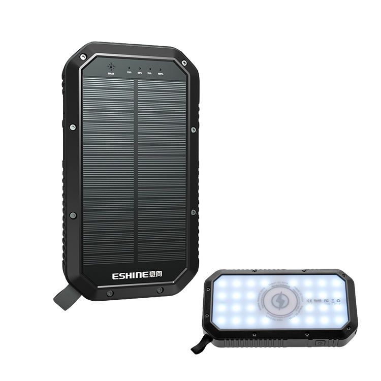 Oem Portable Qi Wireless Solar Charger Power Banks 10000mah 20000mah 30000mah Triple Usb Power Bank Solar Charger with Led Light