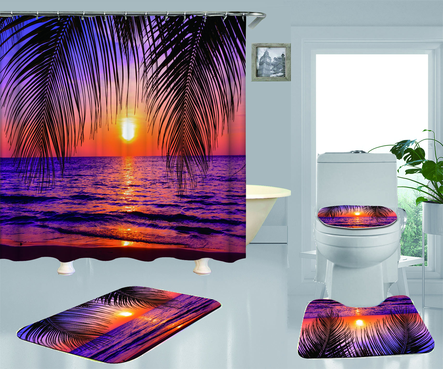 Custom 3D Polyester Fabric Bathroom Sets With Shower Curtain And Rugs