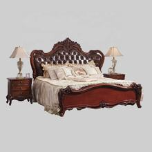 European Wooden Carved Genuine Leather King Size Bed Room Furniture Bedroom Set Luxury Royal