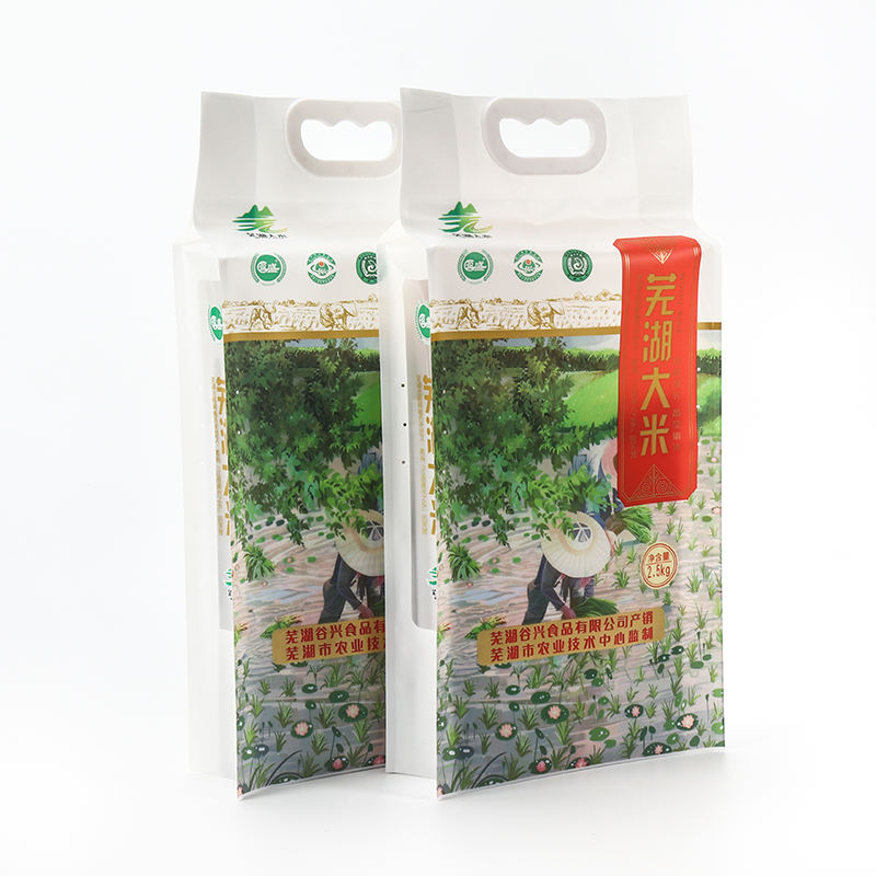 Custom printed food grade moisture-proof grain vacuum sealed packaging bag with handle