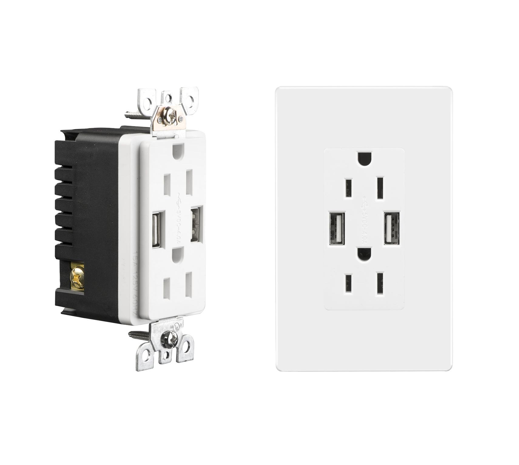 High speed dual 15A 125V socket with usb charger wall outlet