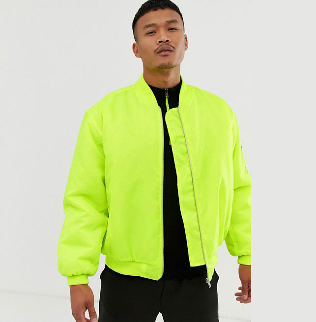 Wholesale Cheap High Quality Winter oversized bomber jacket in neon yellow