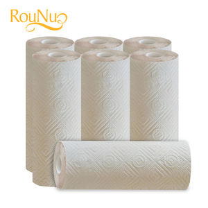 Kitchen paper towels in brown color, bamboo pulp roll tissue
