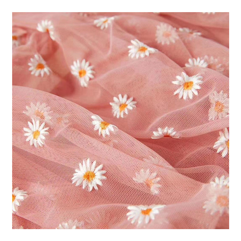 2020 Hot Sale Polyester Mesh Embroidery Small Daisy Sunflower Embroidered Tulle Fabric For Dress