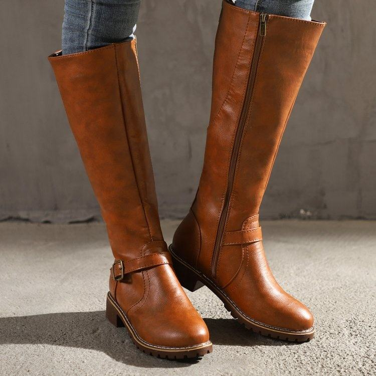2020 New Winter Wear-Resistant Non-Slip Leather Knee High Boots Motorcycle Footwear Riding Long Boots Women