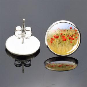 Fashion Women's Earrings Silver Plated Stud Earrings Poppy Flowers Photo Glass Cabochon Earrings Crystal Jewelry Gifts