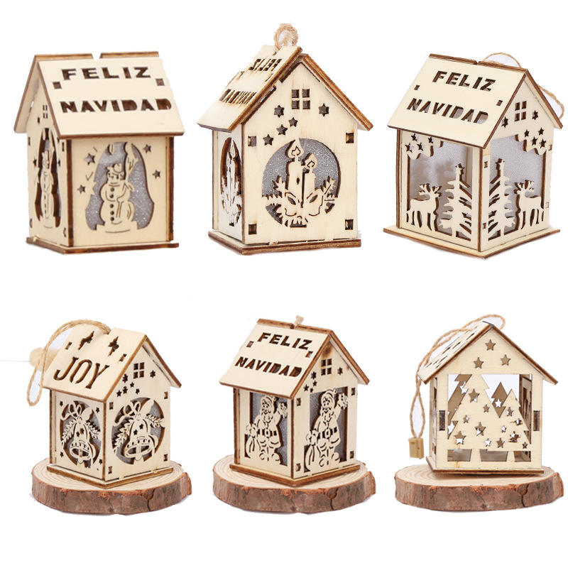Eaglegifts BSCI factory Wooden Laser-Cut Houses shape Battery Operated Christmas Ornament with Decorated Lights