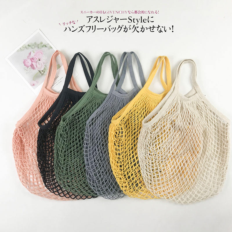 Hot Selling Reusable Fruit Vegetable Grocery Produce Tote Cotton String Mesh Net Shopping Bag With Long Handle
