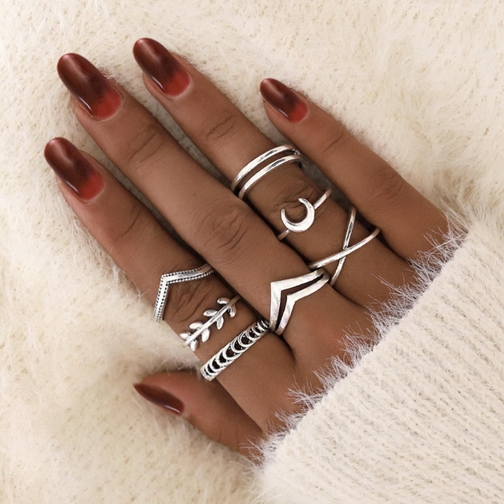 New Product Jewelry Set Combination Ring Personality Moon Simple Little Finger Ring Trend Retro Ring