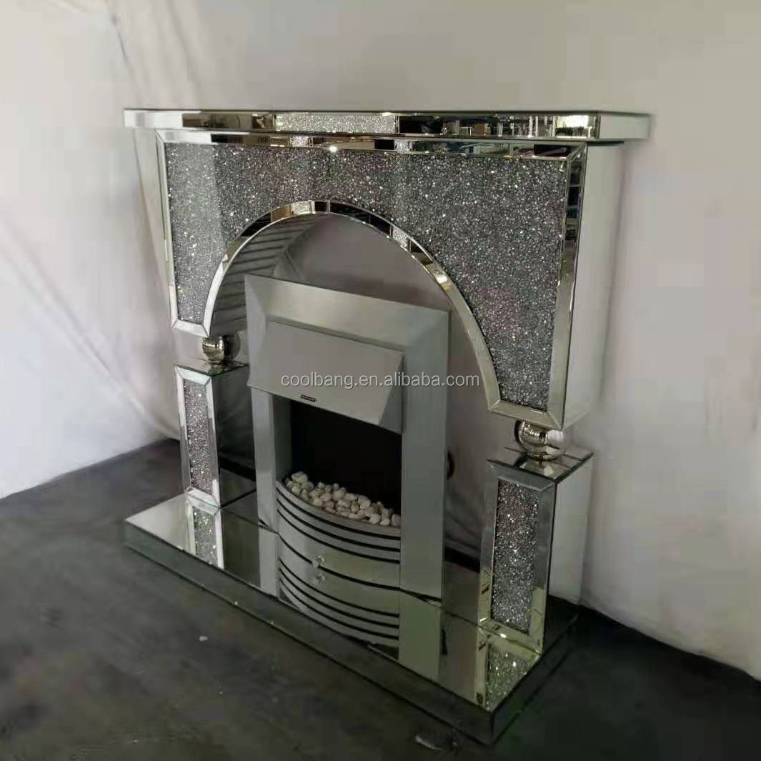 Modern home decor new design crushed diamond mirrored fireplace with electric firebox