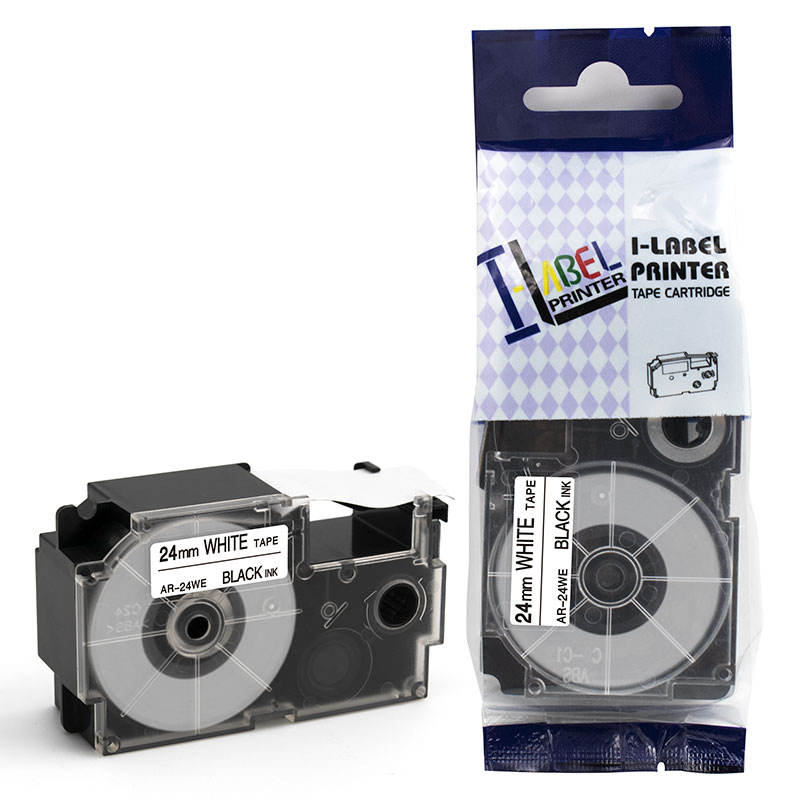 OEM Compatible Casio Tape Cartridge 24mm xr-24we Black on White Cassette Ribbon Tapes for Casio EZ Label Printer