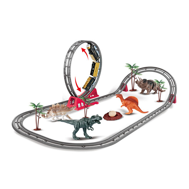 Simulation dinosaur world high speed train rails plastic car track toys HC471307