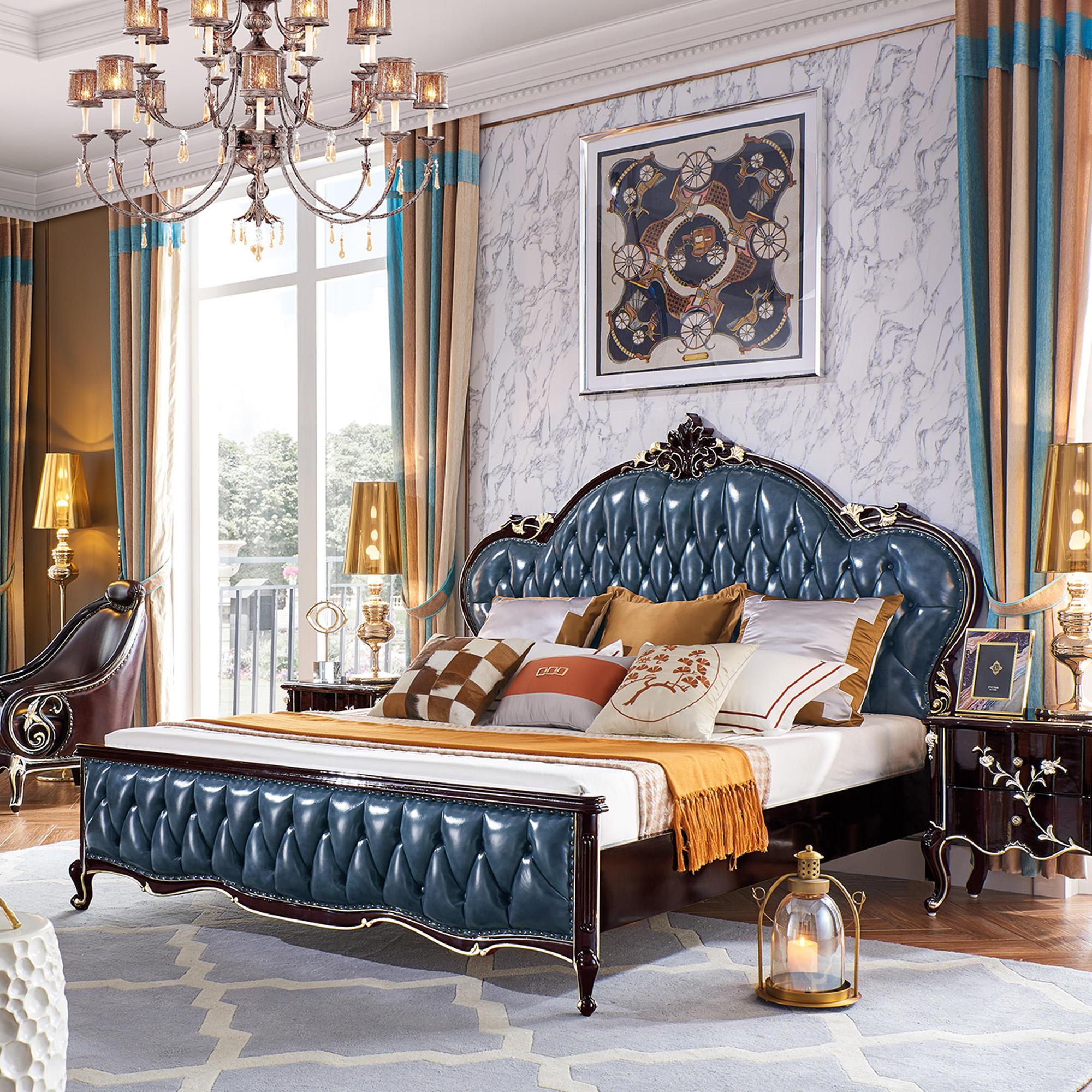 Chine sexe cuir d&#39;auvent de lit double en bois de luxe cadre en bois moderne dans la <span class=keywords><strong>chambre</strong></span> à coucher