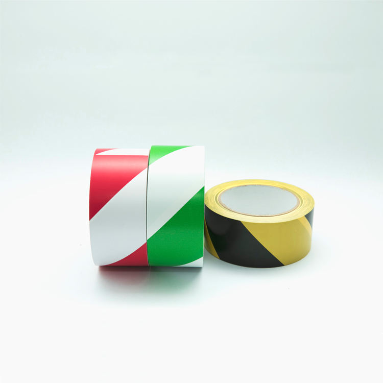 PVC floor marking tape log roll red white hazard tape