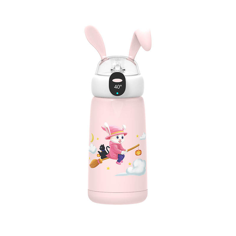 WYWD A Second Opening And Closing Seal Leak Proof Cute Image Intelligent Reminder Intelligent Children Thermos Bottle