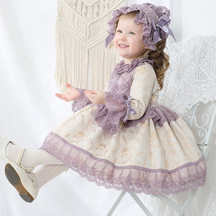kids sequined dress Lace 3 pcs Set Dress Europe Party Baby Girls Dress Bow Long Sleeve Spanish Style Princess