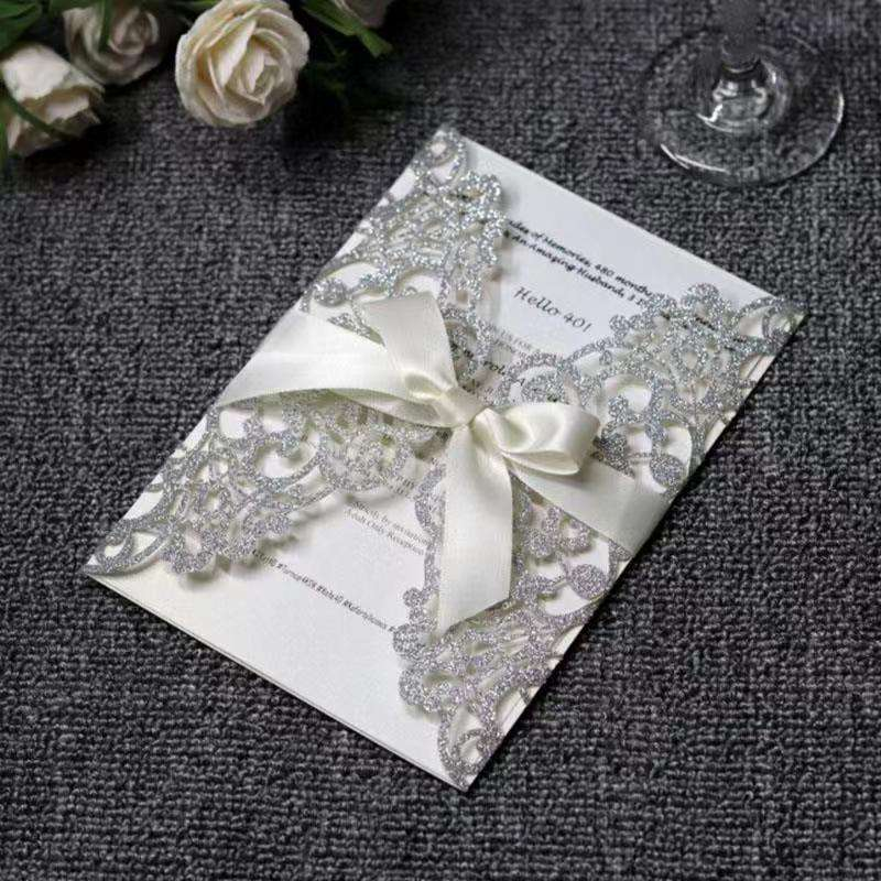Wedding Invitations Flower Pattern Laser Cut Greeting Cards Customize Invitation Cards Printing Inner Pages