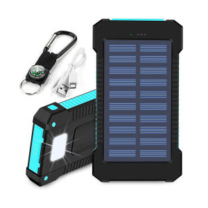 Solar Power Bank Dual USB Power Bank 20000mAh Waterproof Battery Charger External Portable Solar Panel with LED Light