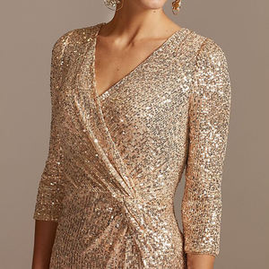 Weixin Sequin 3/4 Sleeve Wrap Front Dress Twist Strapless Evening Dresses